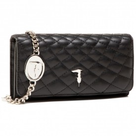 TRUSSARDI PRE DAISY WALLET ON CHAIN SMOOTH QUIL TINO BLACK K299