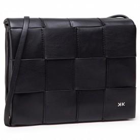 KENDALL+KYLIE BAGS MAYA CROSSBODY BLACK VEGAN LEATHER / SILVER HW - HBKK-221-0005-26