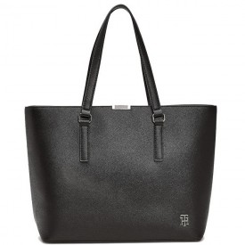 TOMMY HILFIGER SAFFIANO TOTE Black AW0AW08537