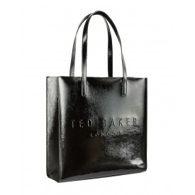TED BAKER abzcon Crinkle Patent Embossed Large Icon BAG Black 243439