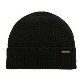 TED BAKER hathat Textured beanie hat Black 247675
